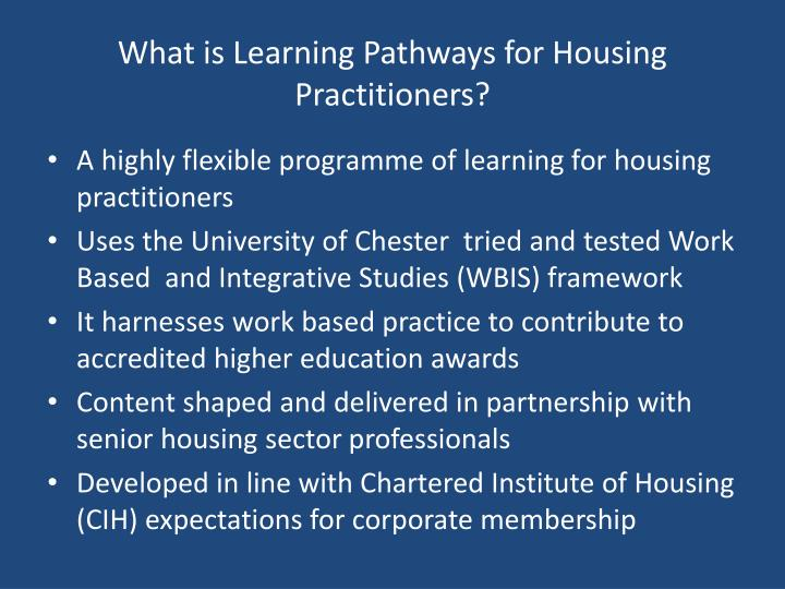 What is Learning Pathways for Housing Practitioners?