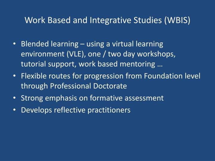 Work Based and Integrative Studies (WBIS)