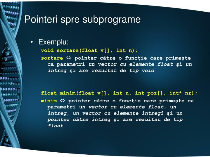 Pointeri spre subprograme