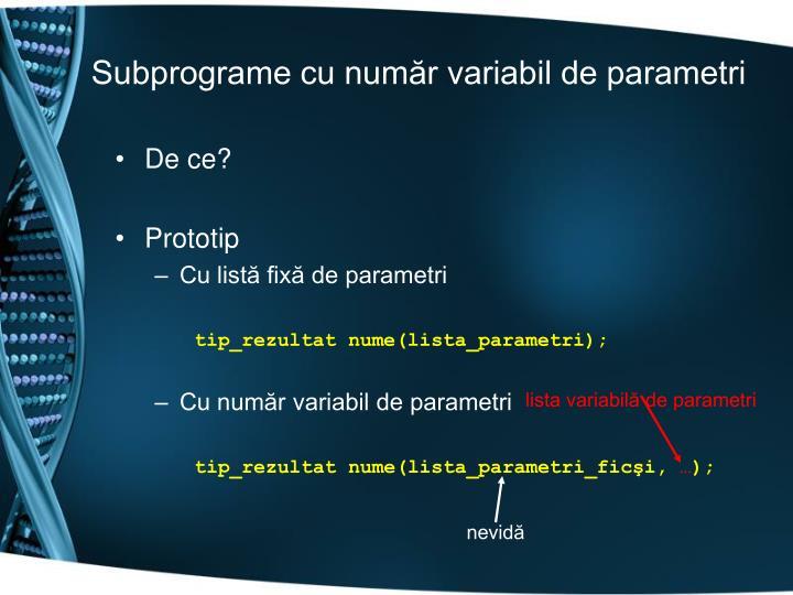 lista variabilă de parametri