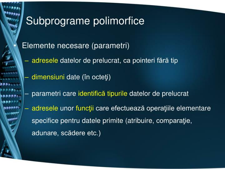 Subprograme polimorfice