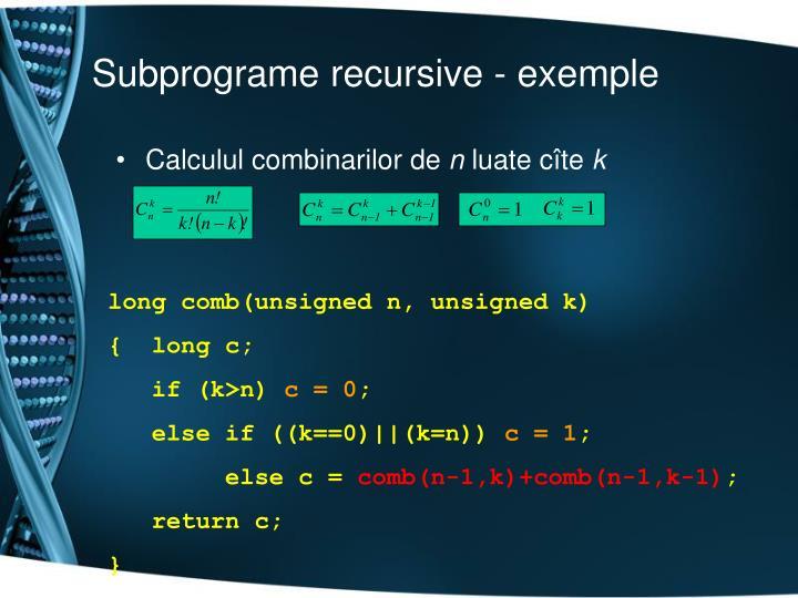 Subprograme recursive -