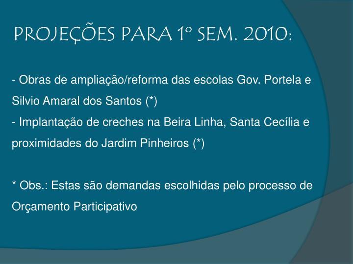 PROJEÇÕES PARA 1º SEM. 2010: