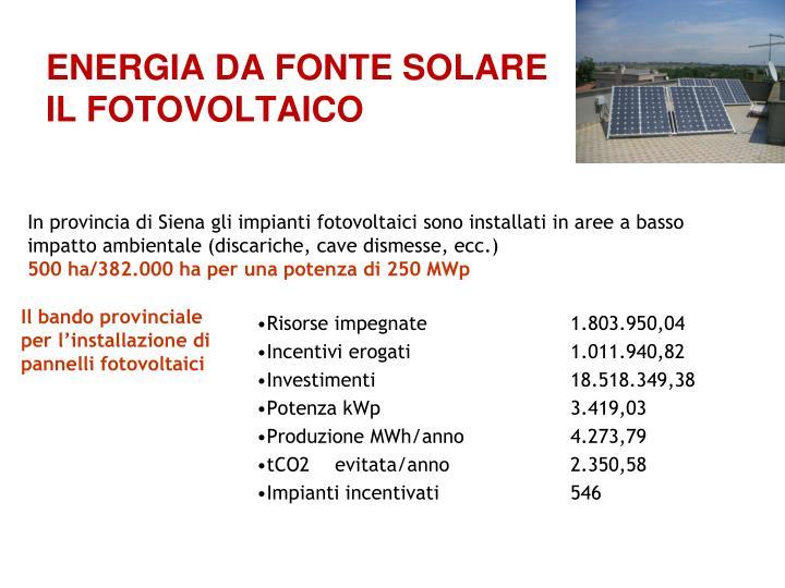 ENERGIA DA FONTE SOLARE
