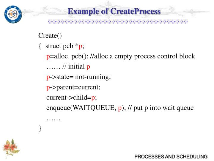 Example of CreateProcess