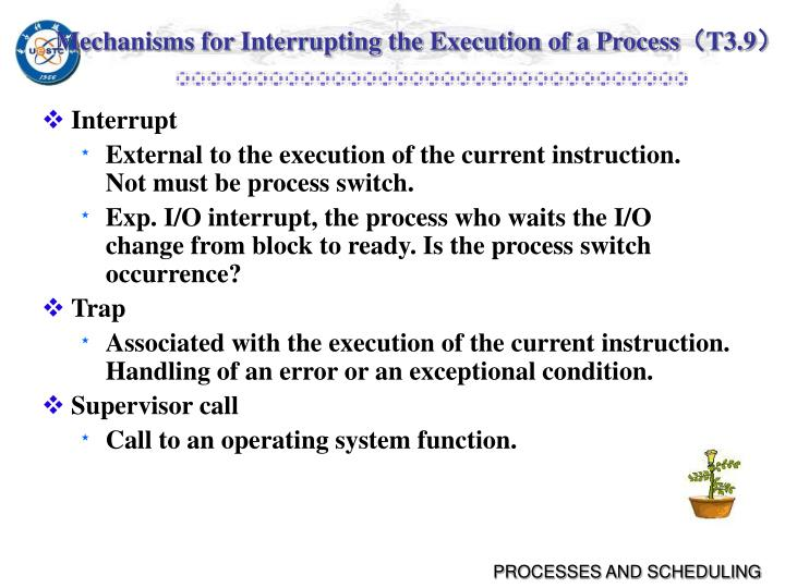 Mechanisms for Interrupting the Execution of a Process