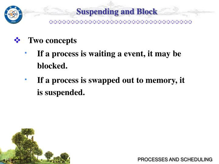 Suspending and Block