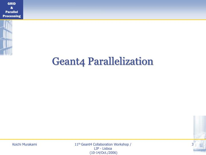 Geant4 parallelization