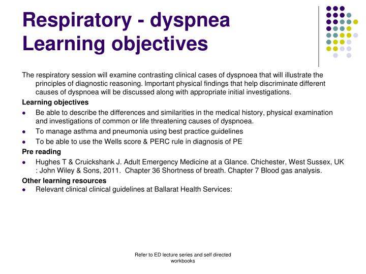 Respiratory dyspnea learning objectives