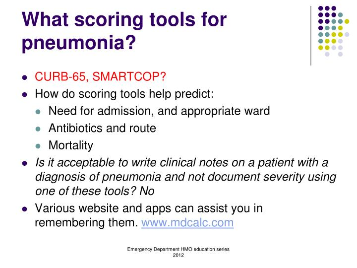 What scoring tools for pneumonia?