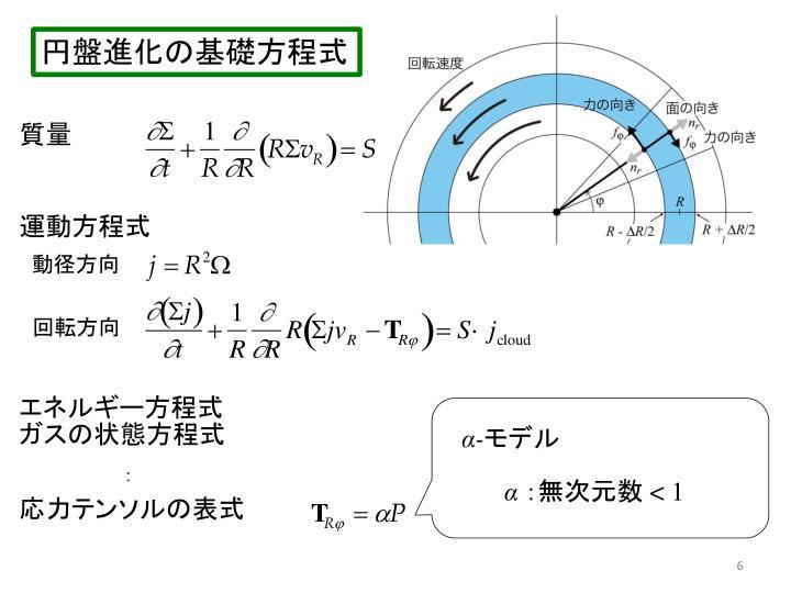 円盤進化の基礎方程式