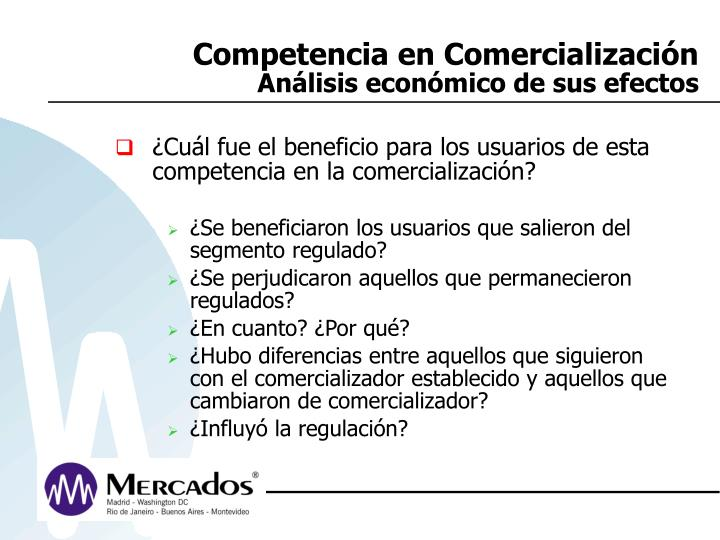 Competencia en Comercialización