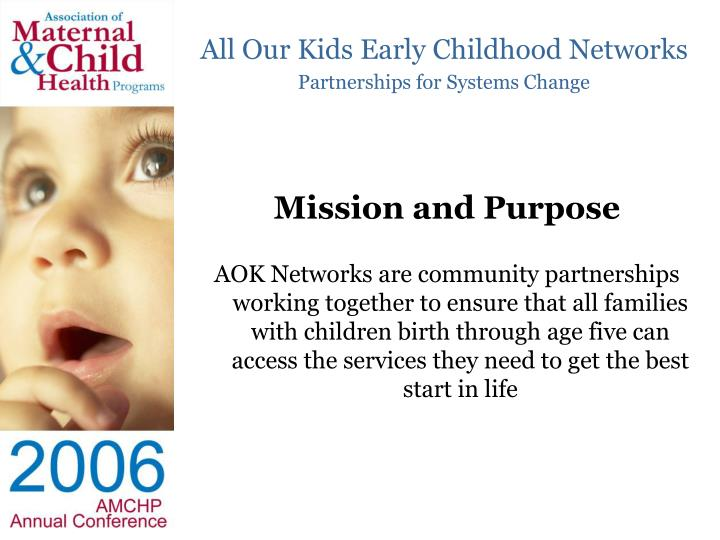All our kids early childhood networks partnerships for systems change