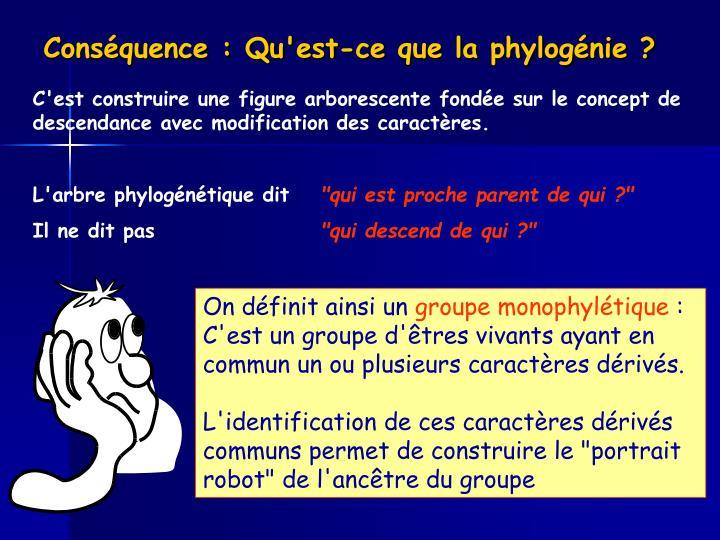Conséquence : Qu'est-ce que la phylogénie ?