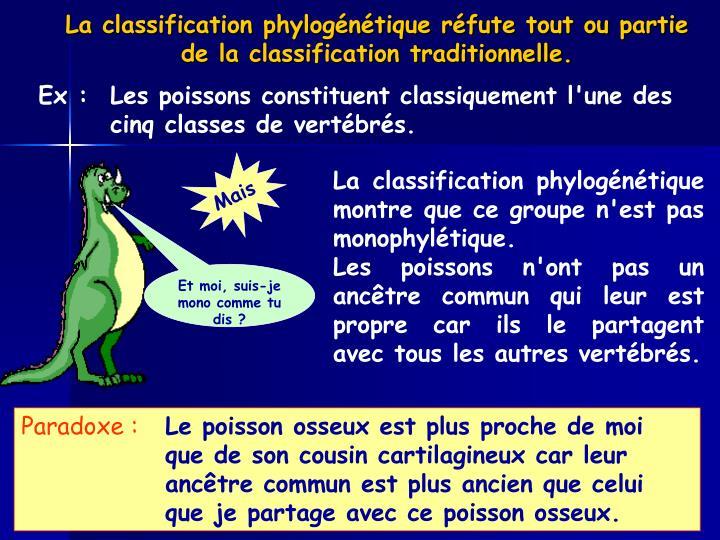 La classification phylogénétique réfute tout ou partie de la classification traditionnelle.