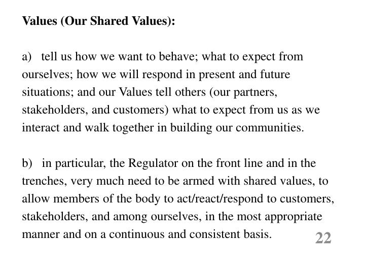 Values (Our Shared Values