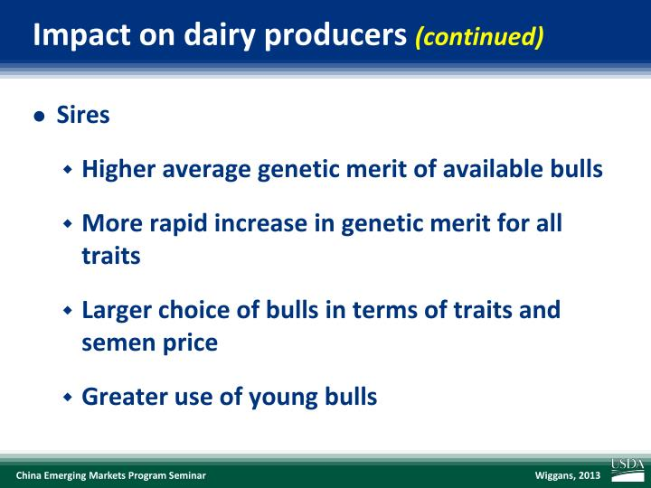Impact on dairy producers