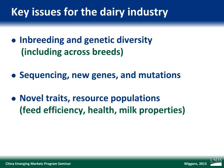 Key issues for the dairy industry