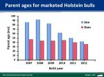 parent ages for marketed holstein bulls