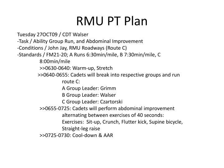 RMU PT Plan