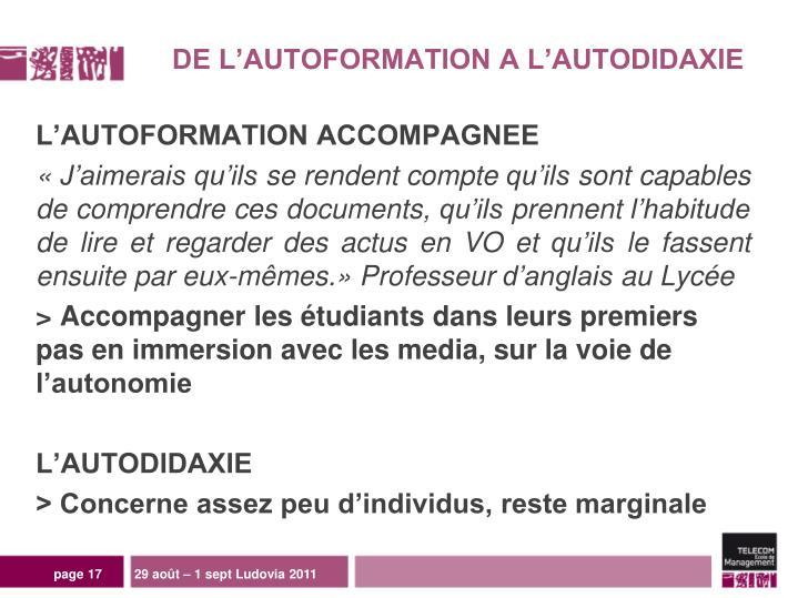 DE L'AUTOFORMATION A L'AUTODIDAXIE