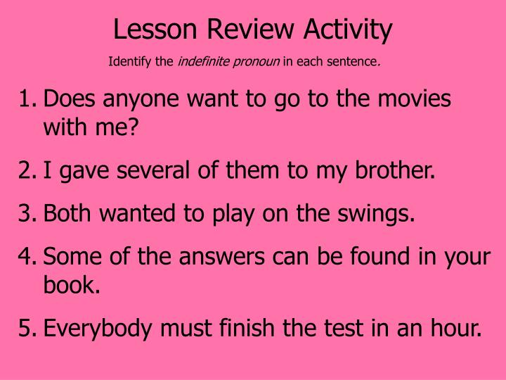 Lesson Review Activity