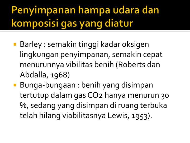 Penyimpanan hampa udara dan komposisi gas yang diatur