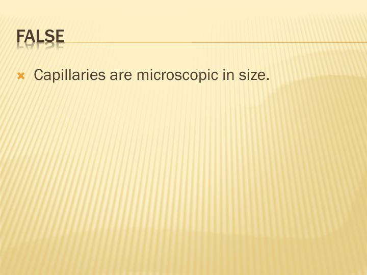 Capillaries are microscopic in size.