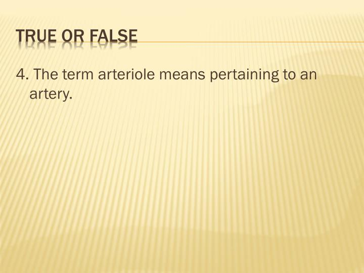 4. The term arteriole means pertaining to an artery.