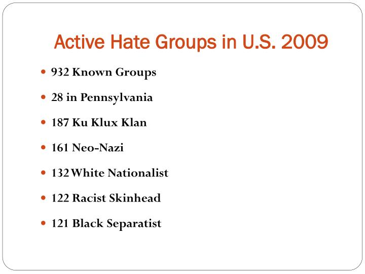 Active Hate Groups in U.S. 2009