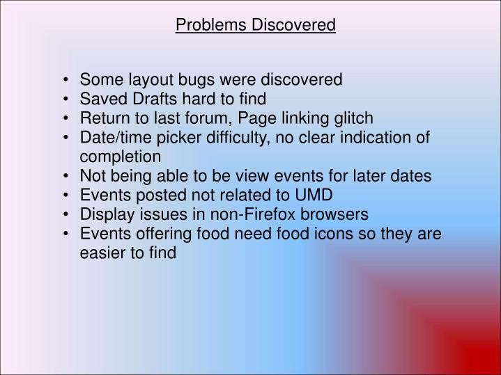 Problems Discovered