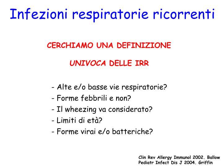 Infezioni respiratorie ricorrenti