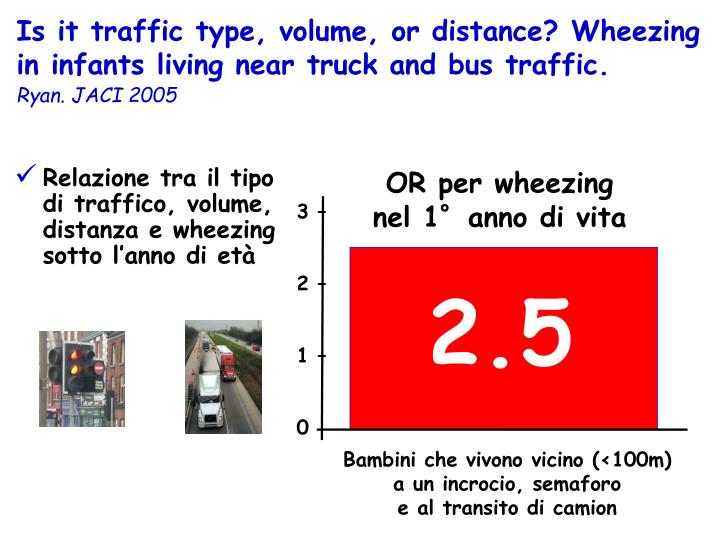Is it traffic type, volume, or distance? Wheezing in infants living near truck and bus traffic.
