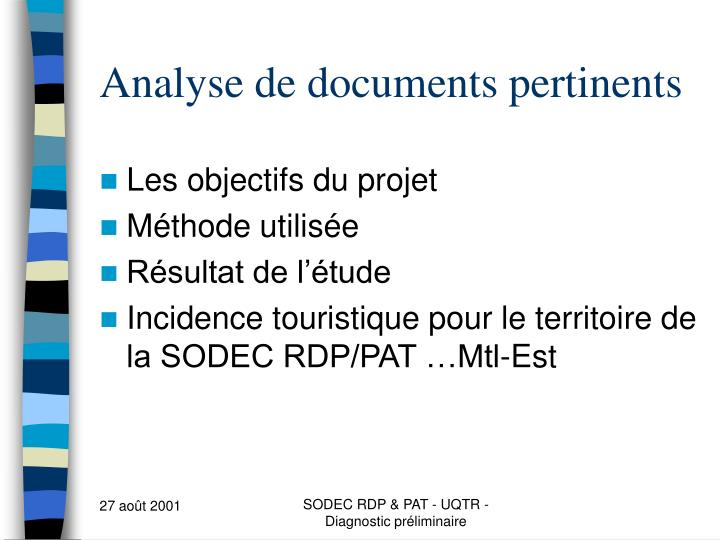 Analyse de documents pertinents