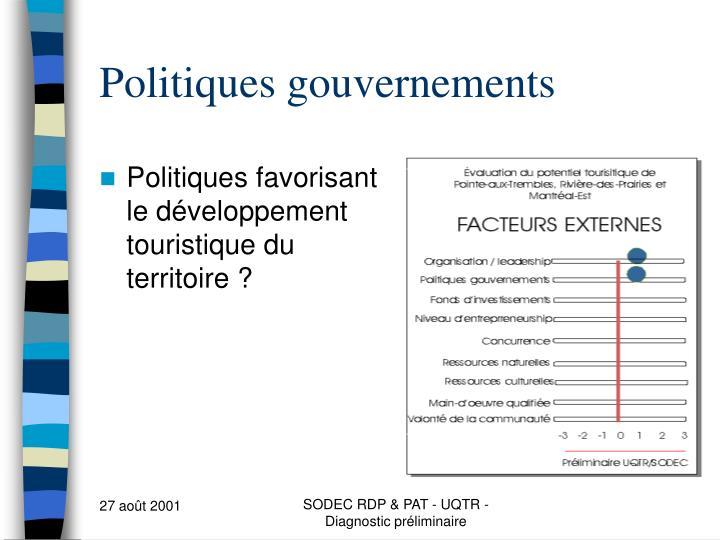 Politiques gouvernements