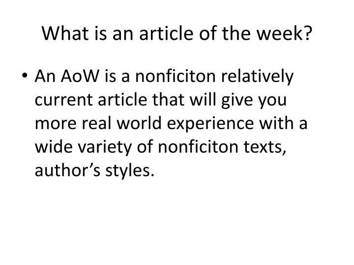 What is an article of the week?
