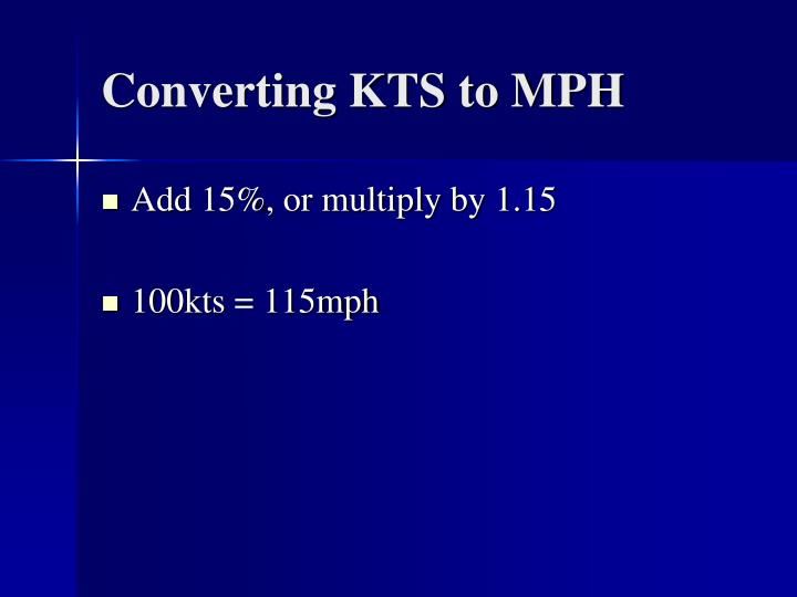 Converting KTS to MPH