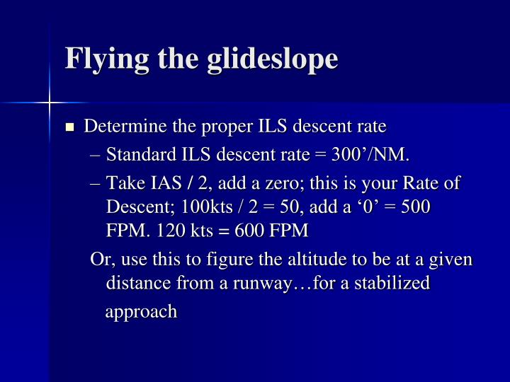 Flying the glideslope