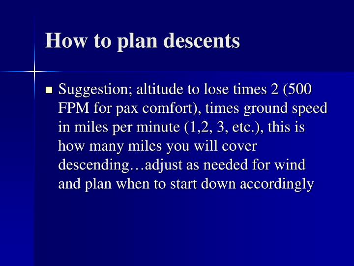 How to plan descents