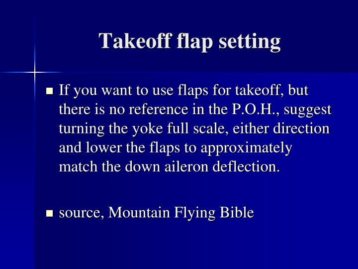 Takeoff flap setting