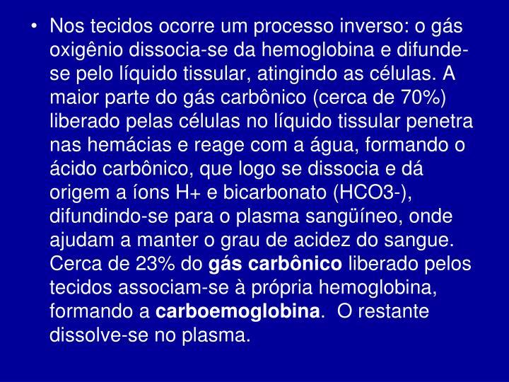 Nos tecidos ocorre um processo inverso: o gás oxigênio dissocia-se da hemoglobina e difunde-se pelo líquido tissular, atingindo as células. A maior parte do gás carbônico (cerca de 70%) liberado pelas células no líquido tissular penetra nas hemácias e reage com a água, formando o ácido carbônico, que logo se dissocia e dá origem a íons H+ e bicarbonato (HCO3-), difundindo-se para o plasma sangüíneo, onde ajudam a manter o grau de acidez do sangue. Cerca de 23% do