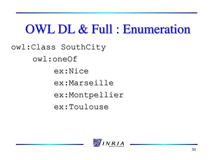 OWL DL & Full : Enumeration