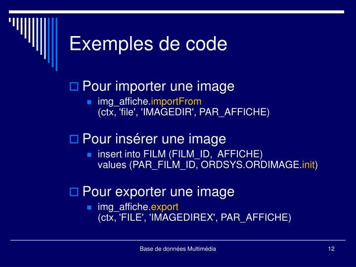 Exemples de code