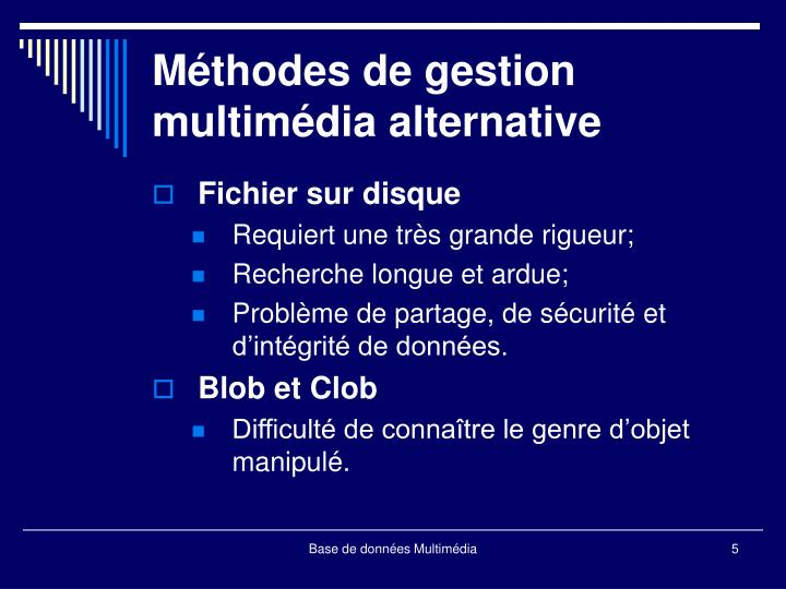 Méthodes de gestion multimédia alternative