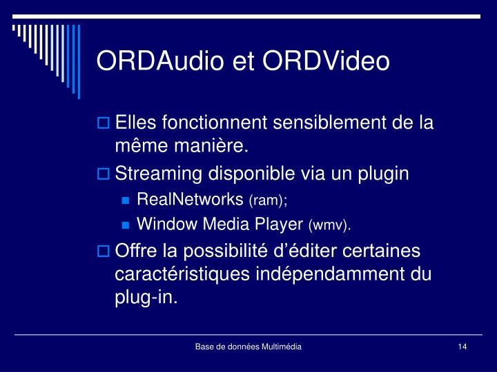 ORDAudio et ORDVideo