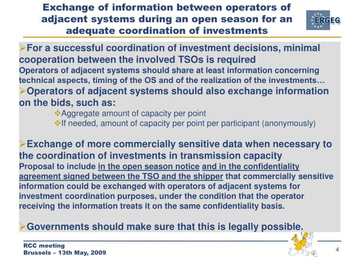 Exchange of information between operators of adjacent systems during an open season for an adequate coordination of investments