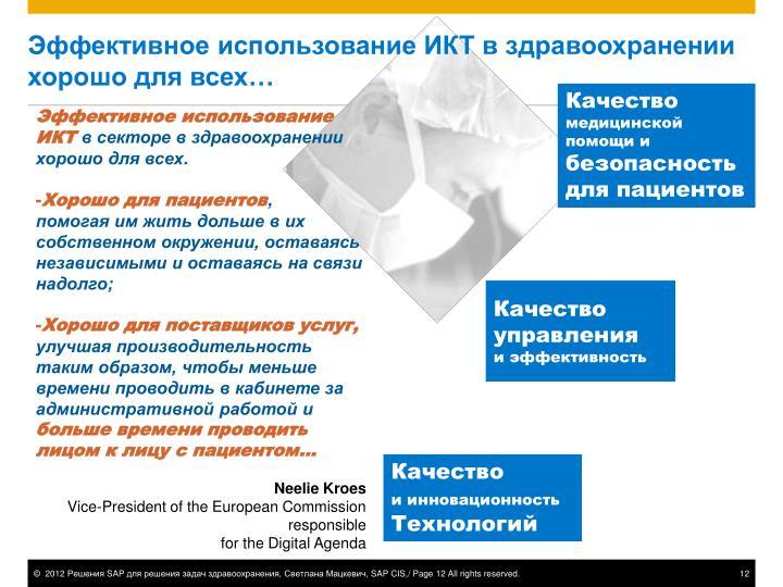 Эффективное использование ИКТ в здравоохранении хорошо для всех…