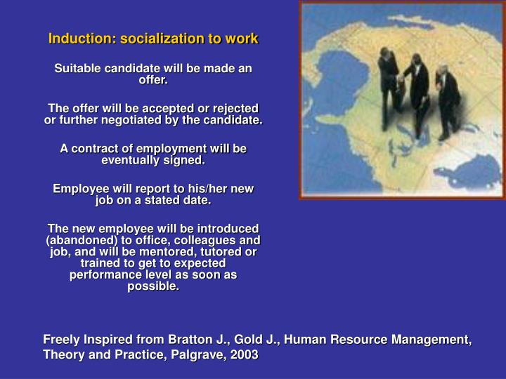 Induction: socialization to work