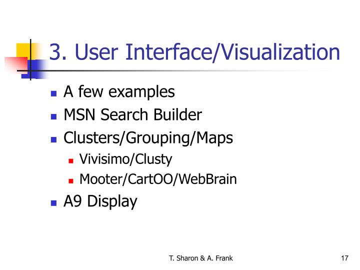 3. User Interface/Visualization
