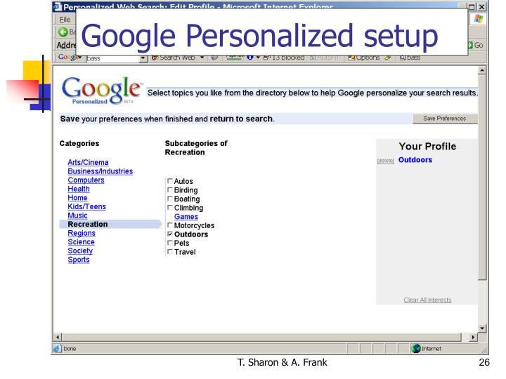Google Personalized setup